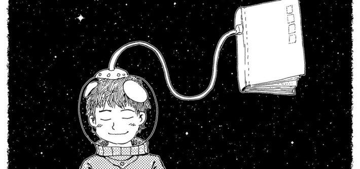 O conto é um universo de possibilidades - Astronauta conectado a um livro