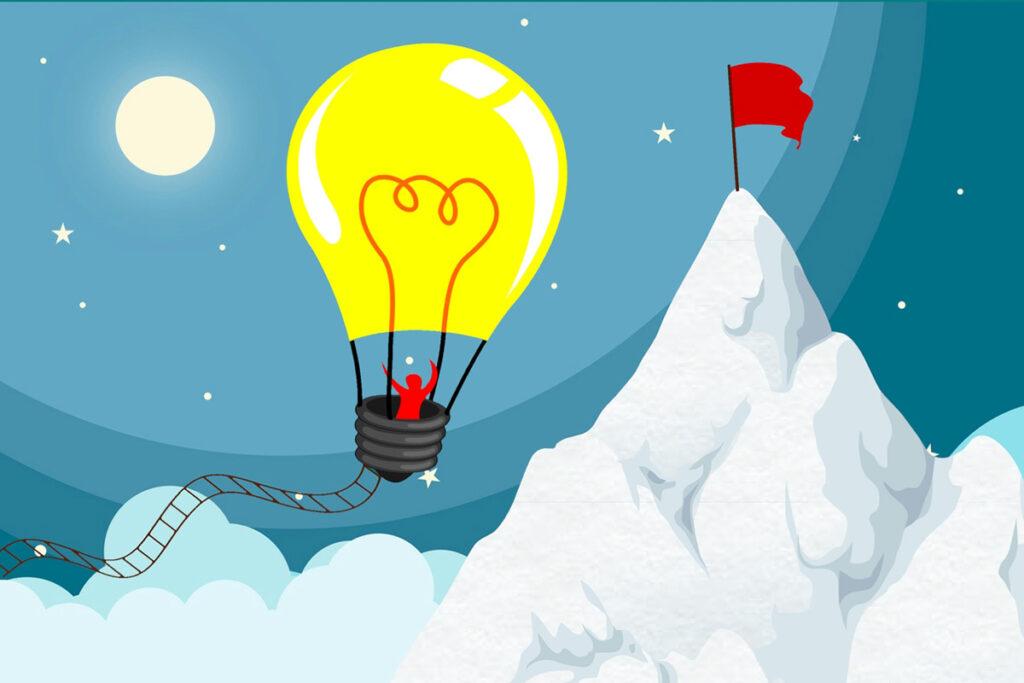 Ilustração de balão voando sobre as nuvens e perto da montanha.