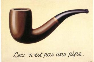"Quadro magrite do cachimbo com a frase ""Ceci ne pas un pipe"""