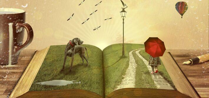 Pagina de livro aberta com paisagem rural