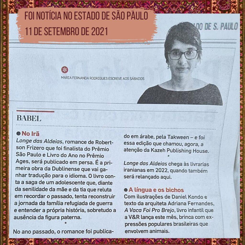 Coluna Babel, jornal o Estado de S. Paulo, reprodução impresso